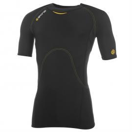 Skins Short Sleeve Base Layer Running Top Mens Blk/Yellow