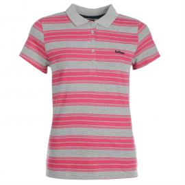 Polokošile Lee Cooper All Over Stripe Polo Ladies Grey Marl/Pink