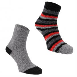 Ponožky Mega Value Boys 2 Pack Stripe Cosy Socks Grey