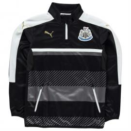 Tričko Puma NUFC Quarter Football Training Jacket Junior Boys Wht/Blk/Gld