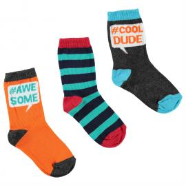 Ponožky Crafted Pack of 3 Slogan Socks Child Boys Multi