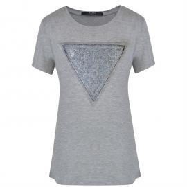 Guess Logo T Shirt Lt Grey Melange
