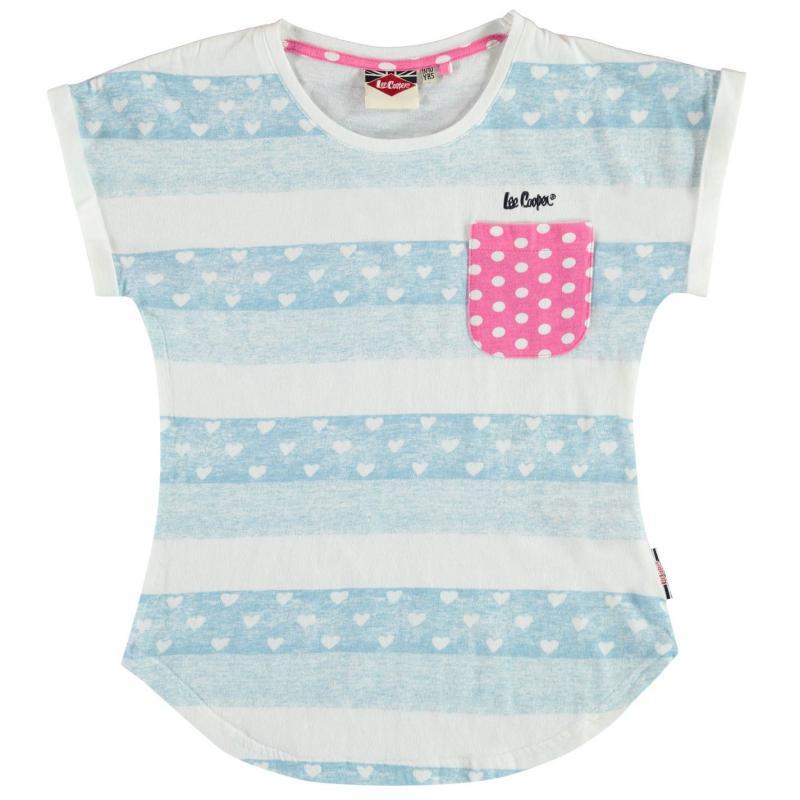 Lee Cooper Girls Tshirt White/Blue Pkt