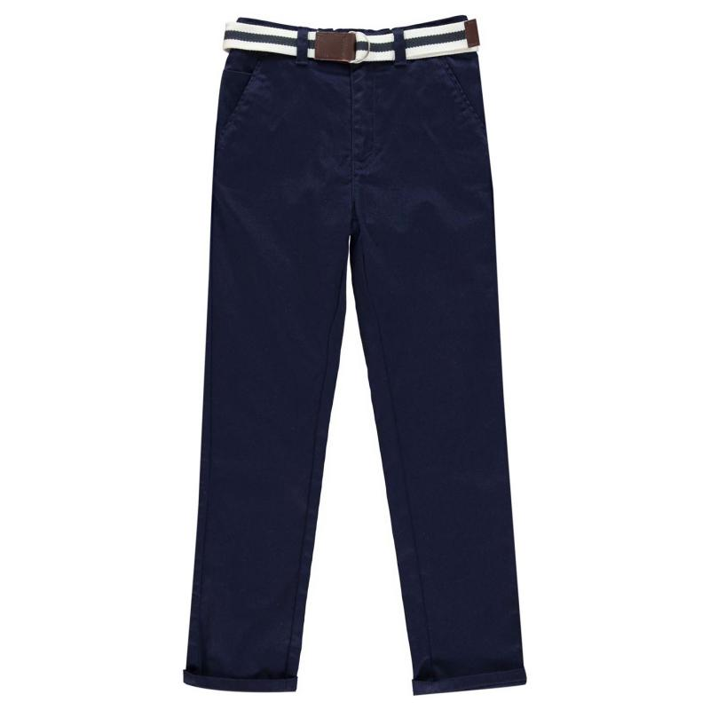 Kalhoty Crafted Belted Chinos Navy