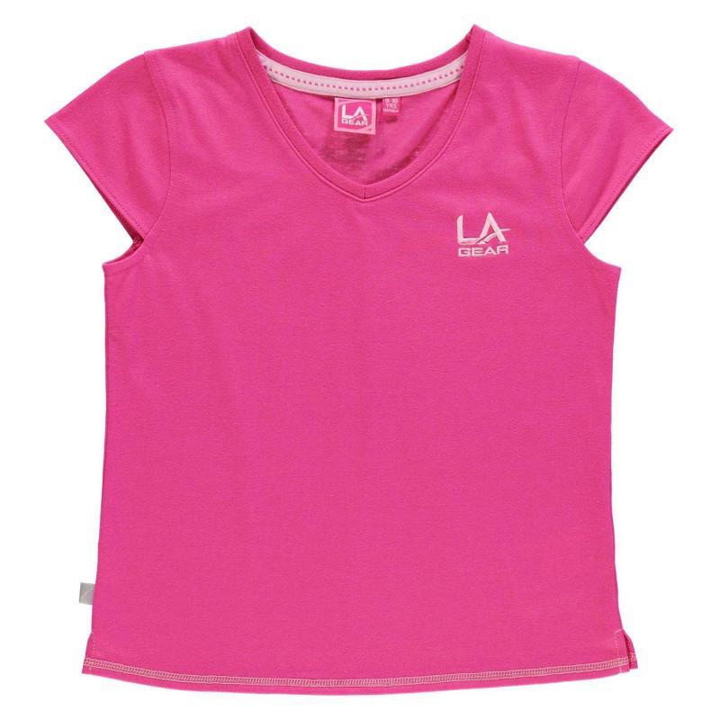 LA Gear V Neck T Shirt Junior Girls Dark Pink