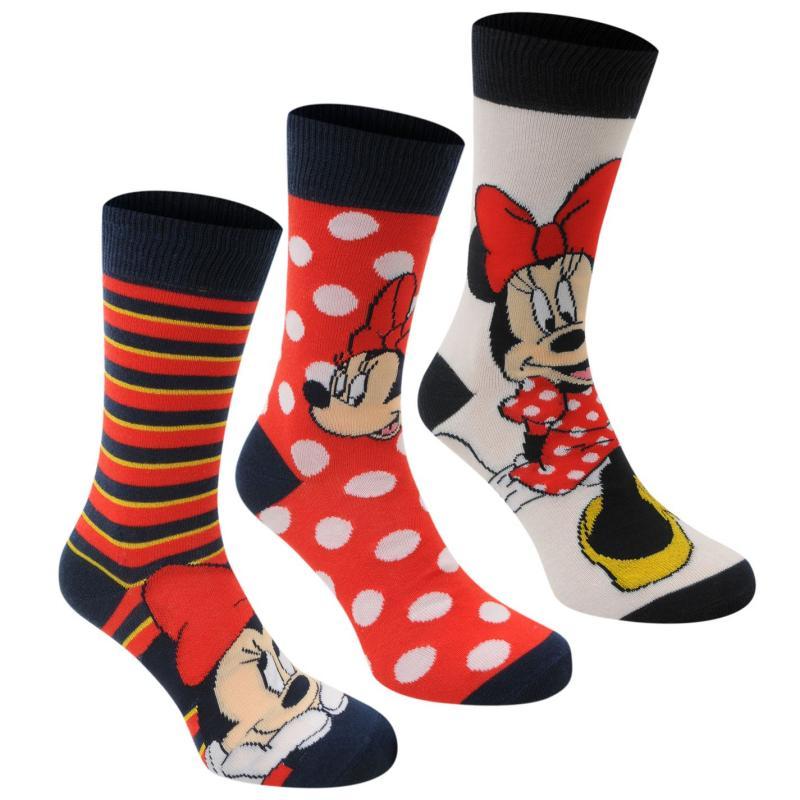 Disney 3 Pack Crew Socks Ladies Minnie