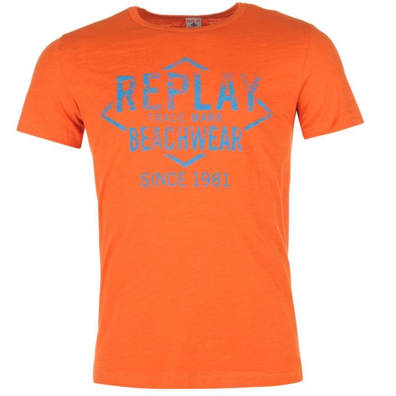 Tričko Replay Beachwear T Shirt Orange