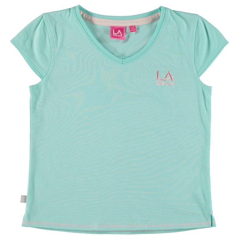 LA Gear V Neck T Shirt Junior Girls Pale Turquoise