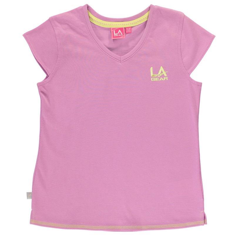LA Gear V Neck T Shirt Junior Girls Violet