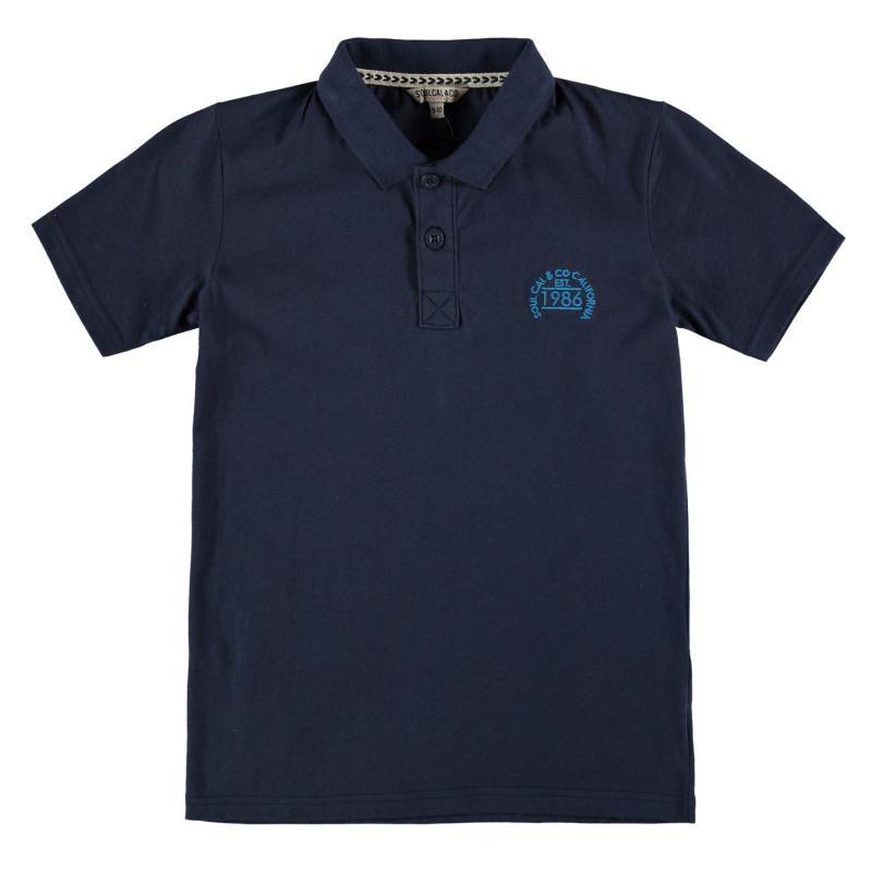 SoulCal Signature Peached Polo Shirt Junior Boys Navy