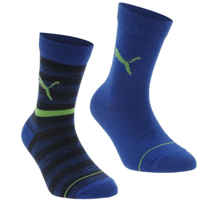 Puma Stripe 2 Pack Junior Crew Socks Blue