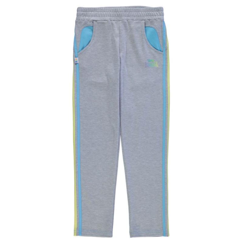 Lonsdale Open Hem Sweatpants Junior Girls Grey Marl/Blue