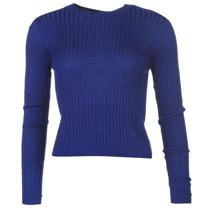 Svetr Golddigga Rib Knit Jumper Ladies Mazarine Blue