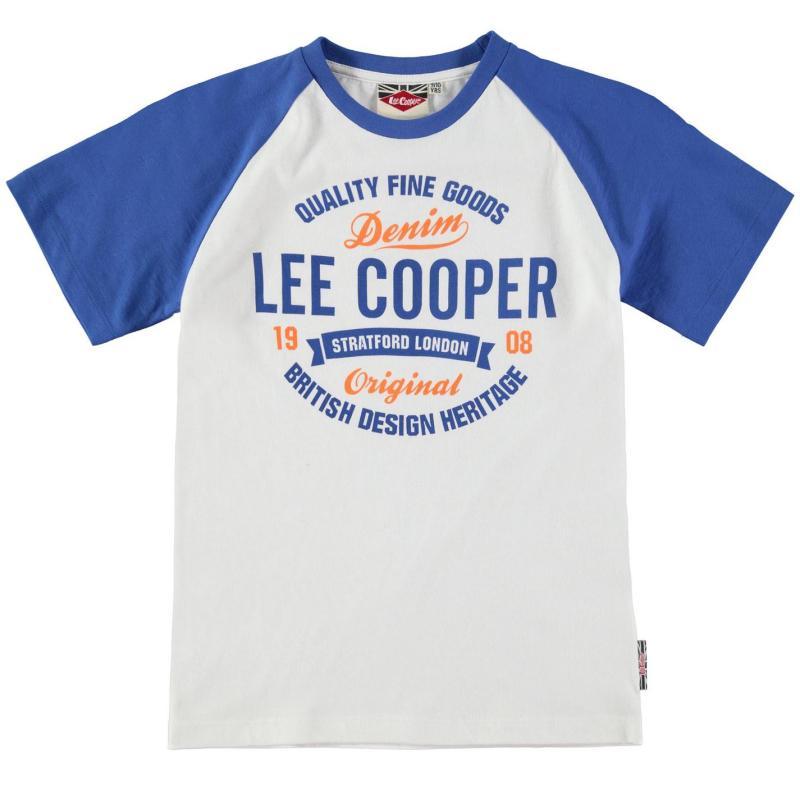 Tričko Lee Cooper Raglan Tee Junior Boys White/Blue