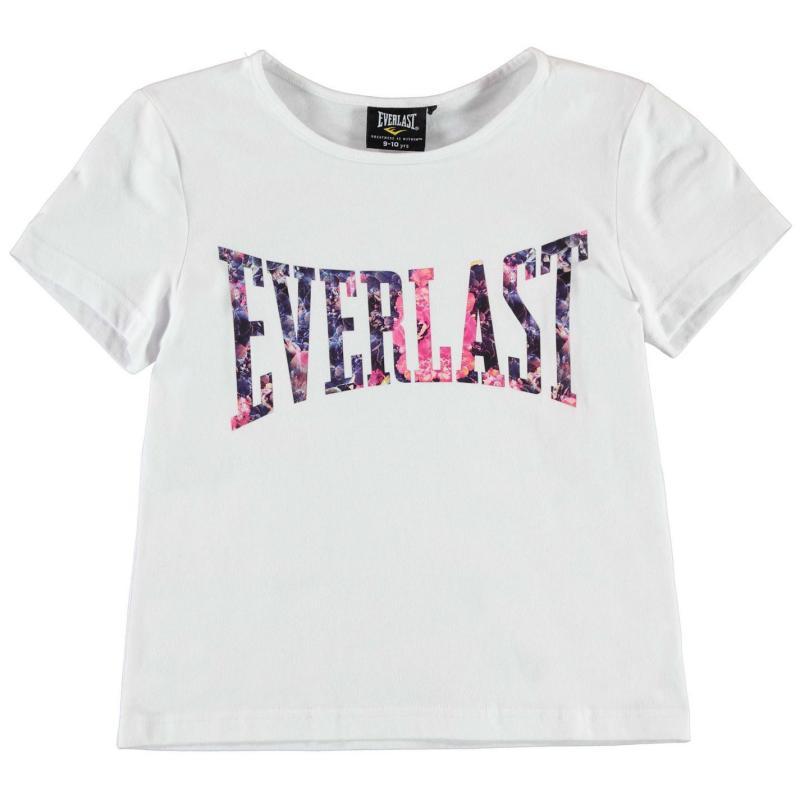 Everlast Large Logo Crew T Shirt Junior Girls White/Pink