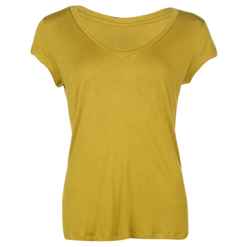 Rock and Rags V Neck T Shirt Chartreuse