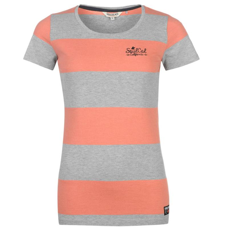 SoulCal Yarn Dye Stripe T Shirt Ladies Grey M/ Peach