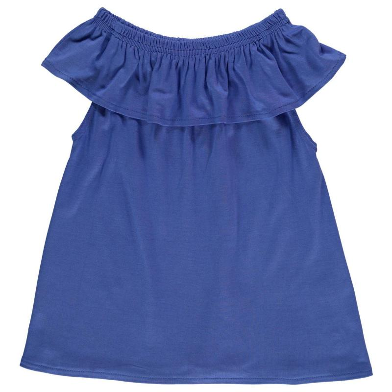 Crafted Bardot Jersey Top Child Girls Blue