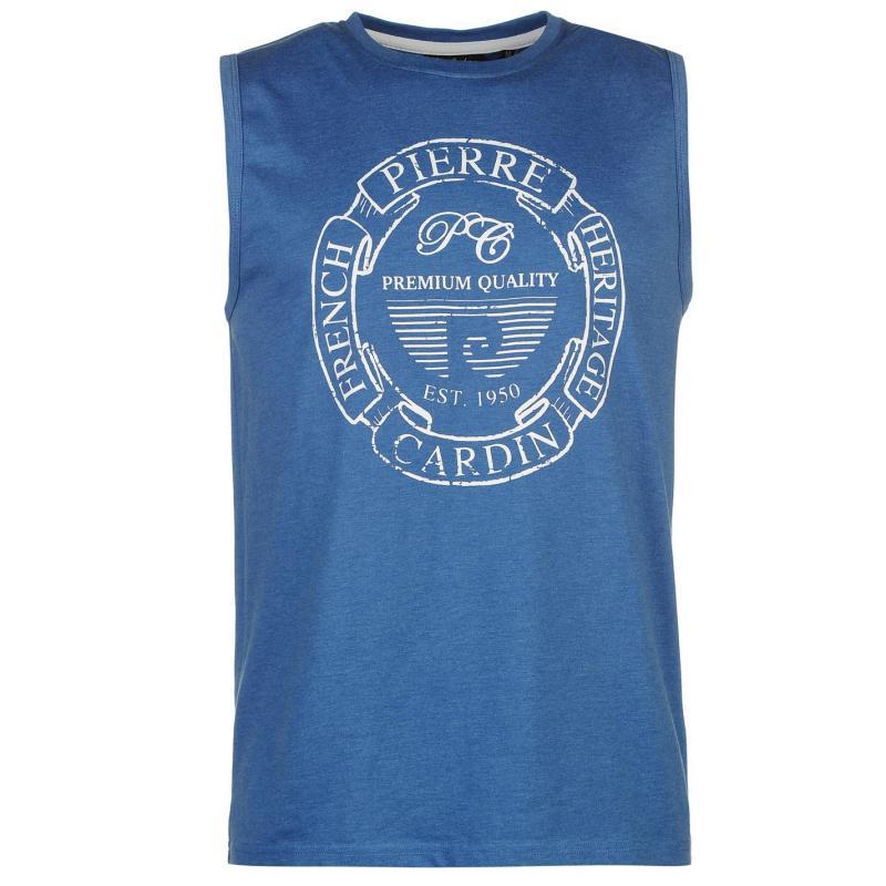 Tílko Pierre Cardin Print Sleeveless Tank Top Mens Blue Marl