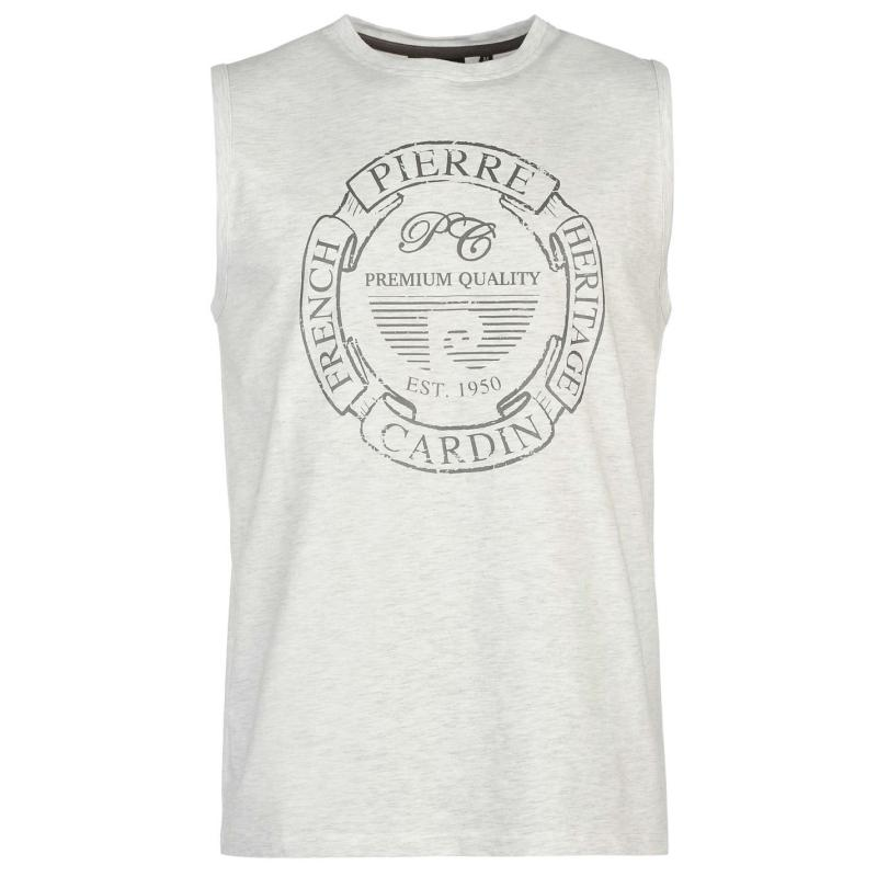 Tílko Pierre Cardin Print Sleeveless Tank Top Mens Silver Marl