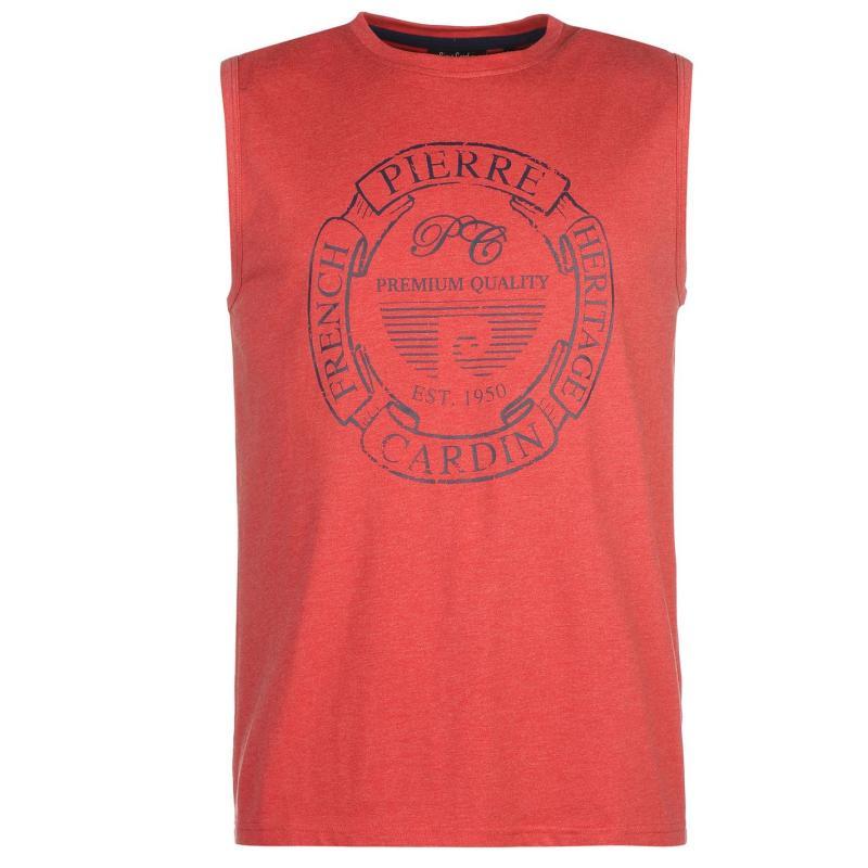Tílko Pierre Cardin Print Sleeveless Tank Top Mens Red Marl