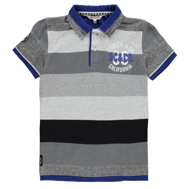 SoulCal Double Collar Polo Shirt Junior Boys Grey M/Brt Blue