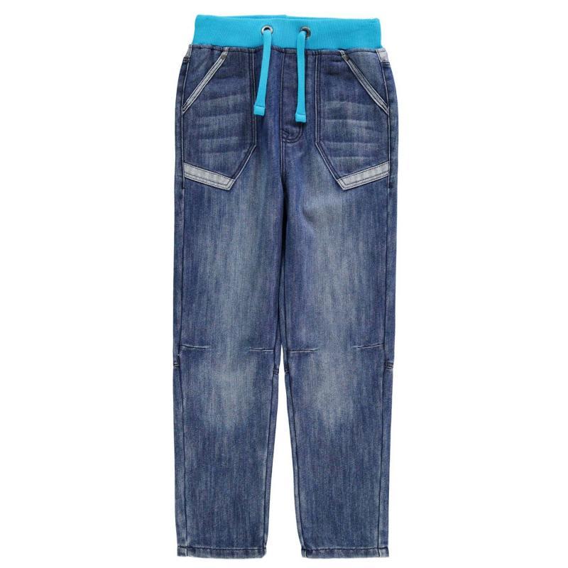 Kalhoty No Fear Ribbed Waist Jeans Junior Mid Wash