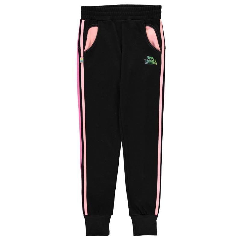 Lonsdale Closed Hem Sweatpants Junior Girls Black/Pink