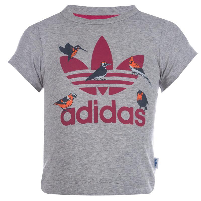 Adidas Originals Infant Girls Trefoil T-Shirt Grey Heather
