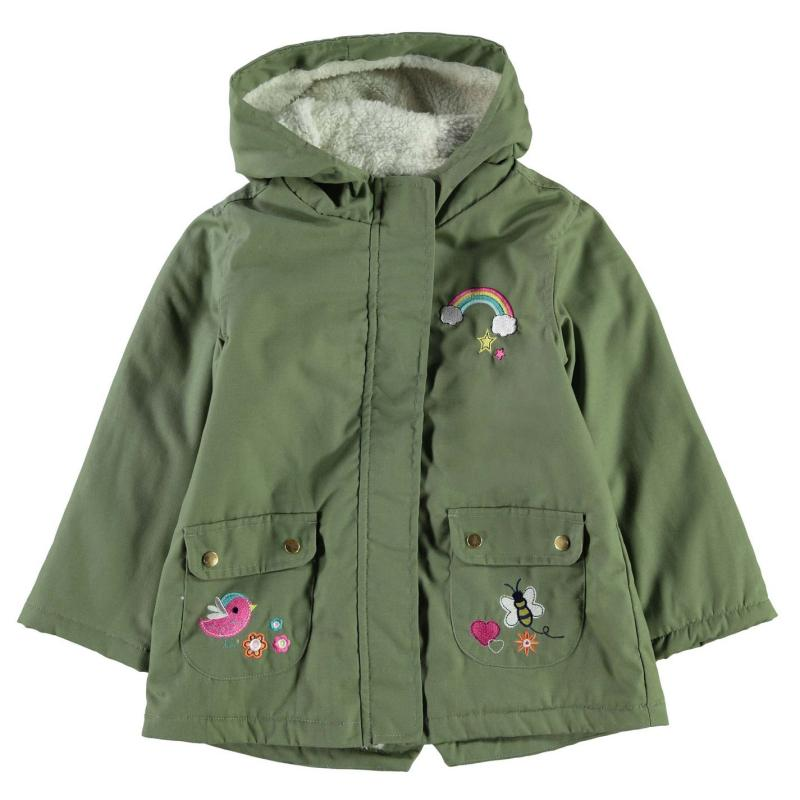 Crafted Embroidered Parka Jacket Green