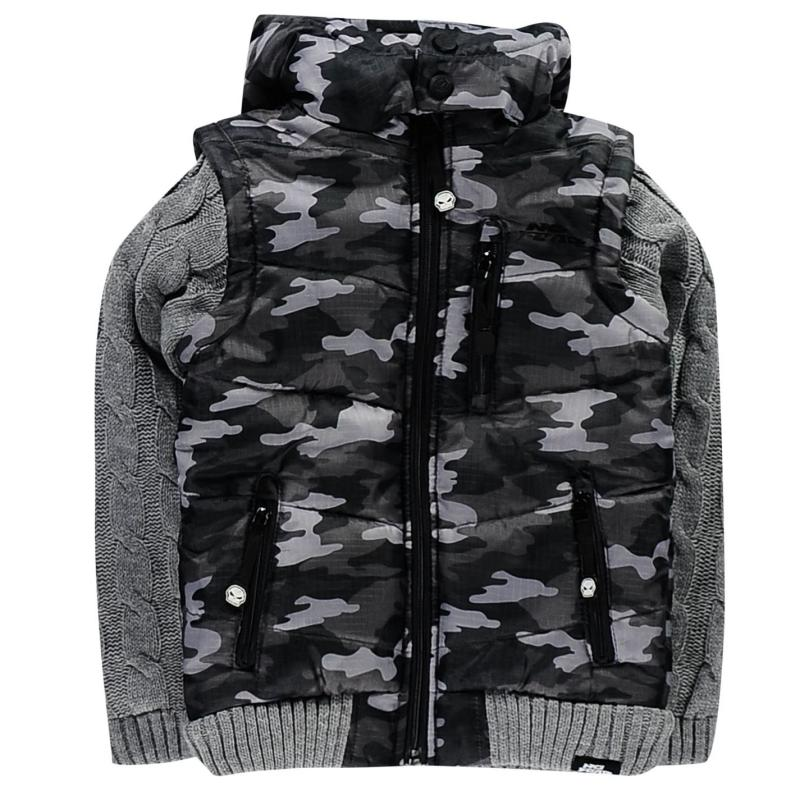 Bunda No Fear Knit Sleeve Jacket Junior Boys Camo/Char