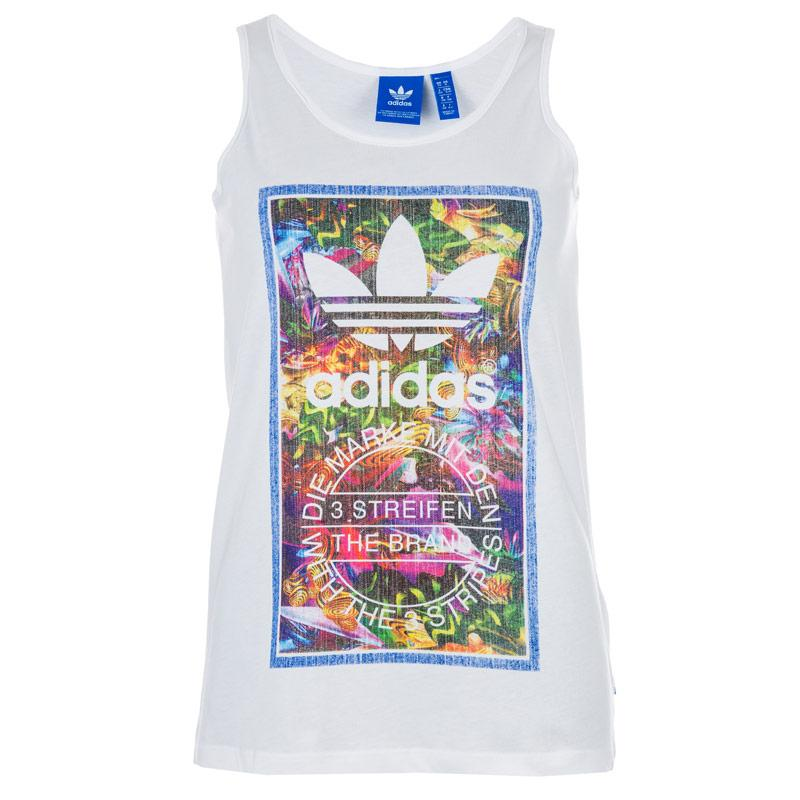 Adidas Originals Womens Tongue Label Tank Top White