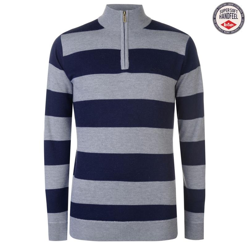 Lee Cooper Quarter Zip Knitted Jumper Mens Gry M/Solid Nvy