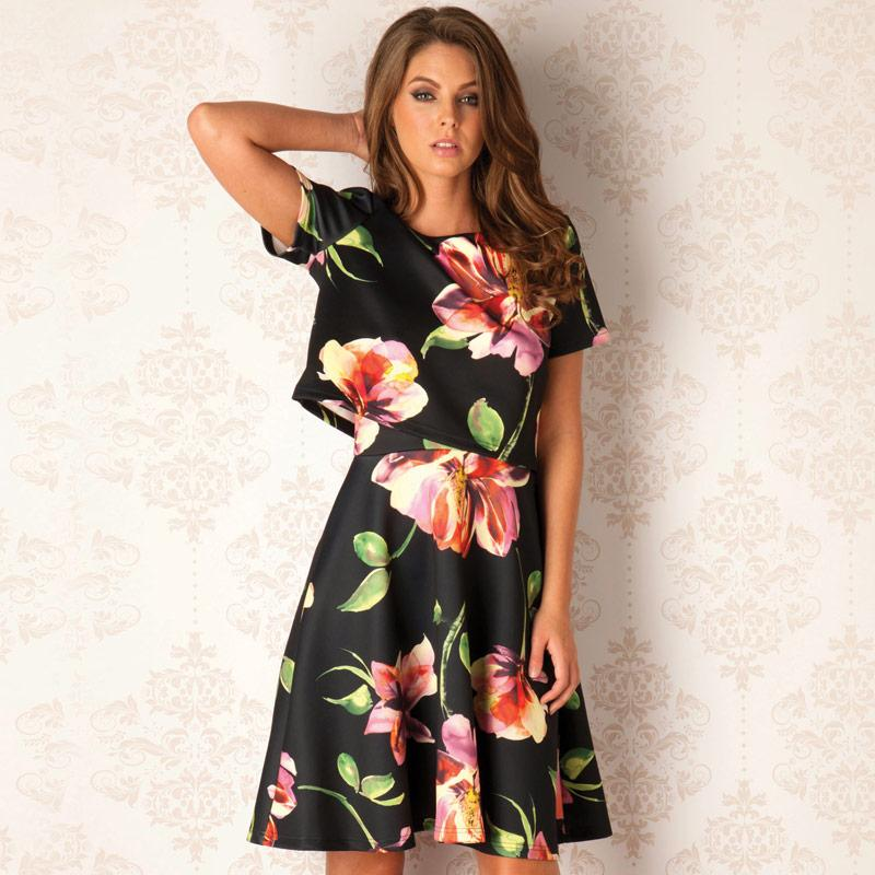 Šaty Clubl Womens Floral 2 Piece Dress Floral