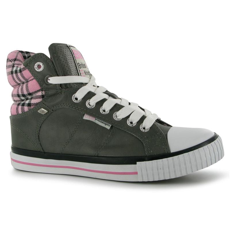 Boty British Knights Atoll Mid PU Junior Trainers Lt Grey/Pink