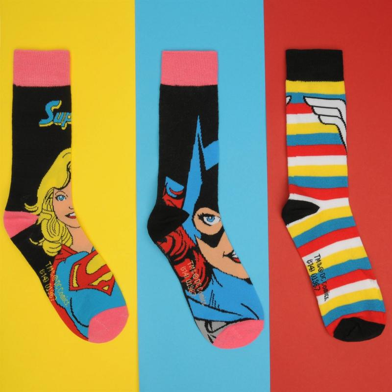 DC Comics 3 Pack Crew Sock Ladies Multi