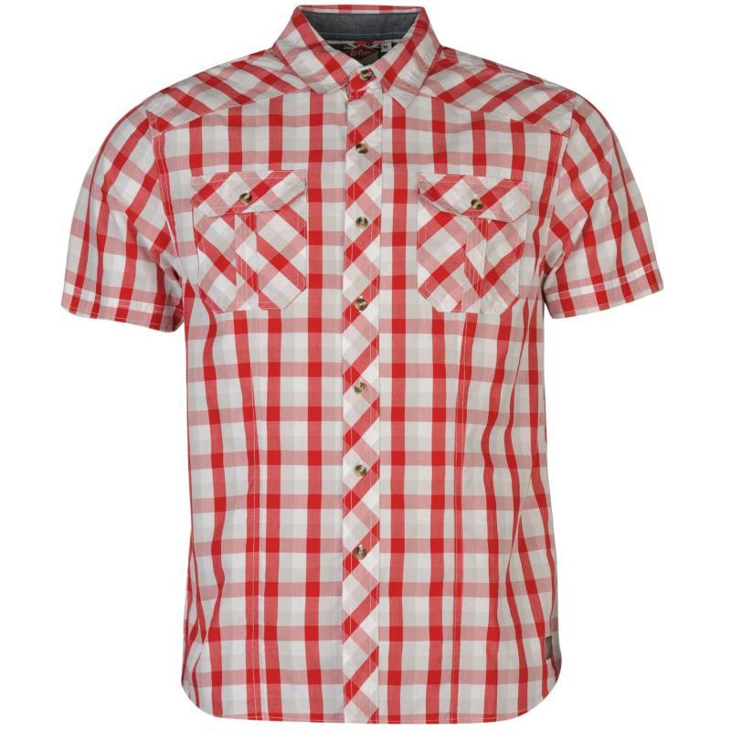 Košile Lee Cooper James Short Sleeve Check Shirt Mens Red