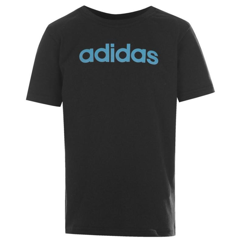 Tričko adidas Linear Logo T Shirt Junior Black/SolarBlue