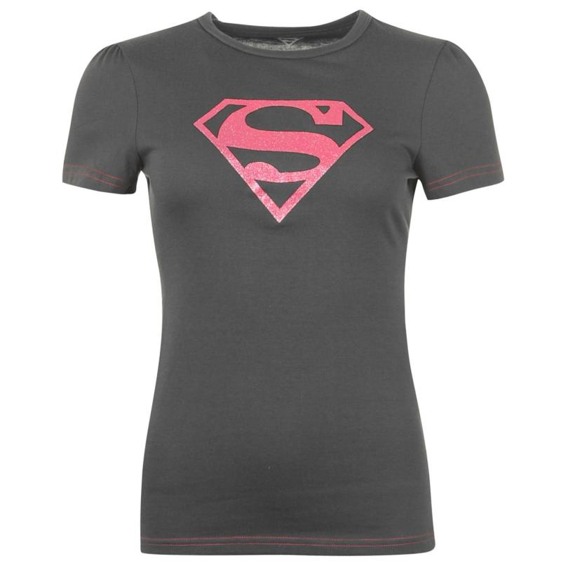 DC Comics Superman T Shirt Ladies Charcoal