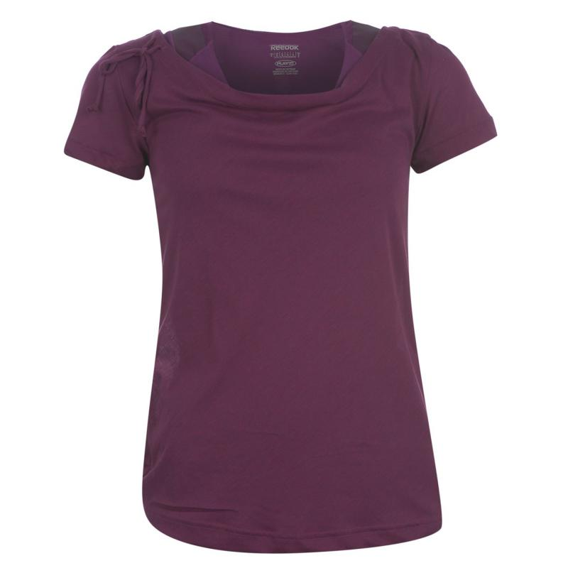 Reebok EasyTone Short Sleeve Layer T Shirt Ladies Auber Heather