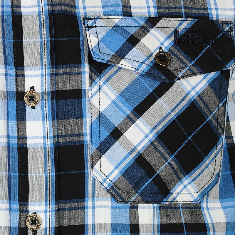 Košile Lee Cooper Short Sleeve Check Shirt Mens Black/White/Blu