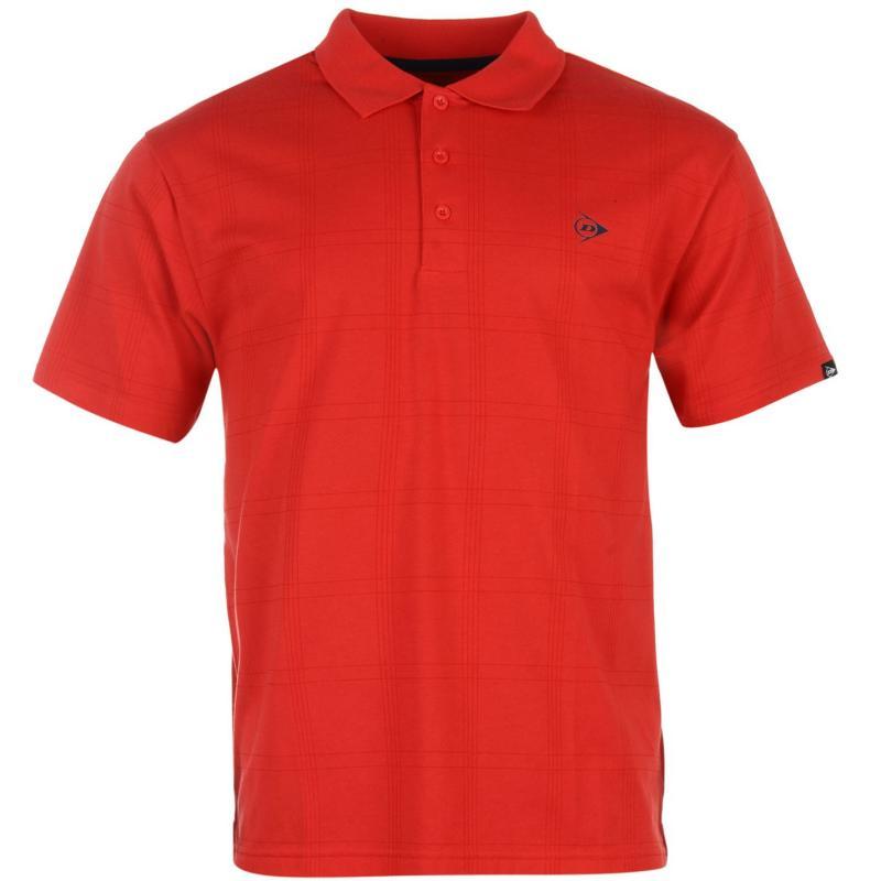 Dunlop Check Golf Polo Shirt Mens White