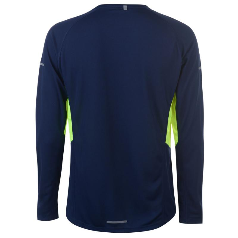 Tričko Karrimor Long Sleeved Running T Shirt Mens Blue/Dk Blue