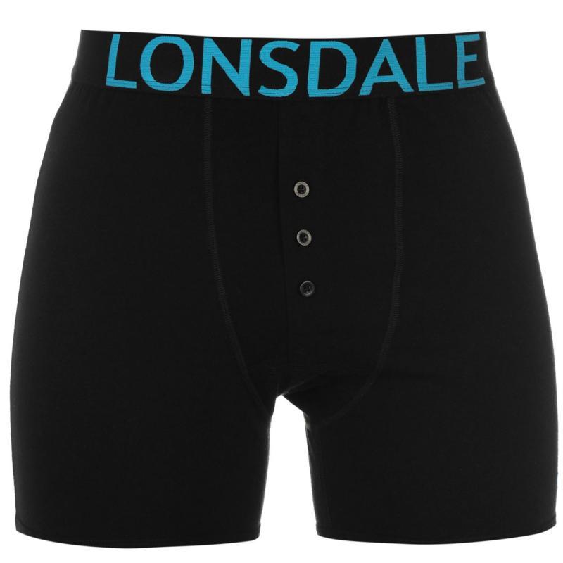 Spodní prádlo Lonsdale 2 Pack Boxers Mens Black/Fl Green