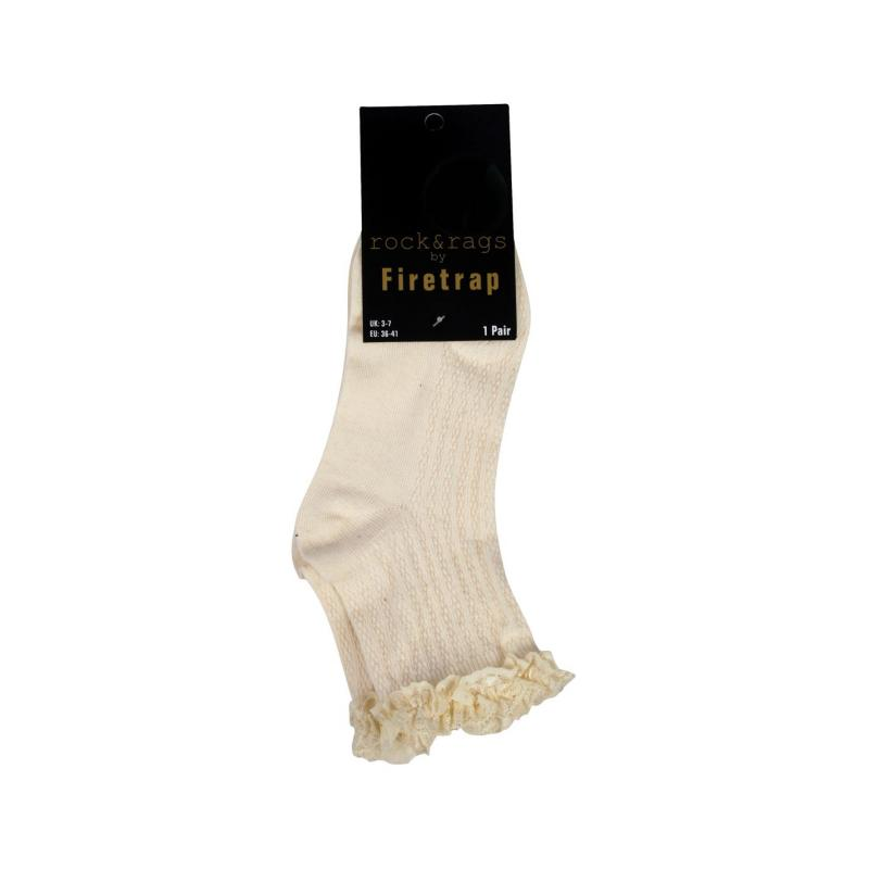Rock and Rags Frill Socks Cream