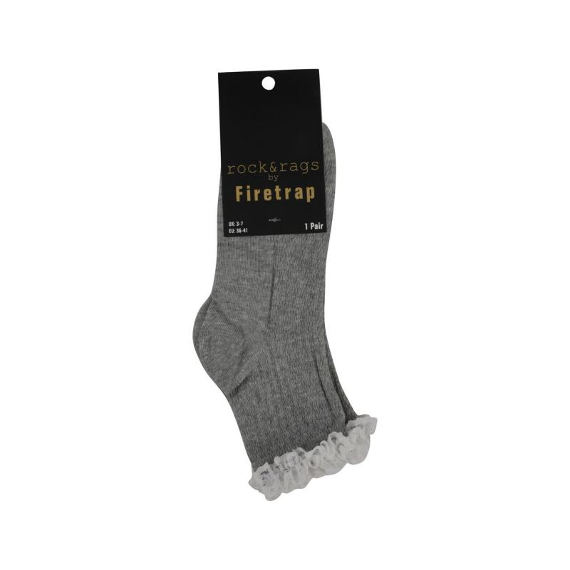 Rock and Rags Frill Socks Grey