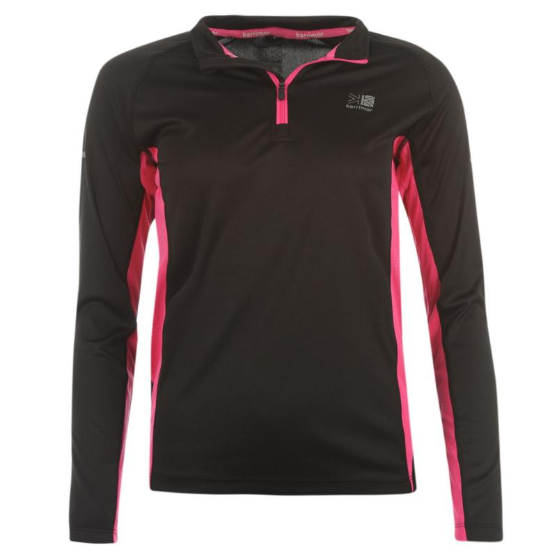 Karrimor Quarter Zip Running Top Ladies Black/Pink