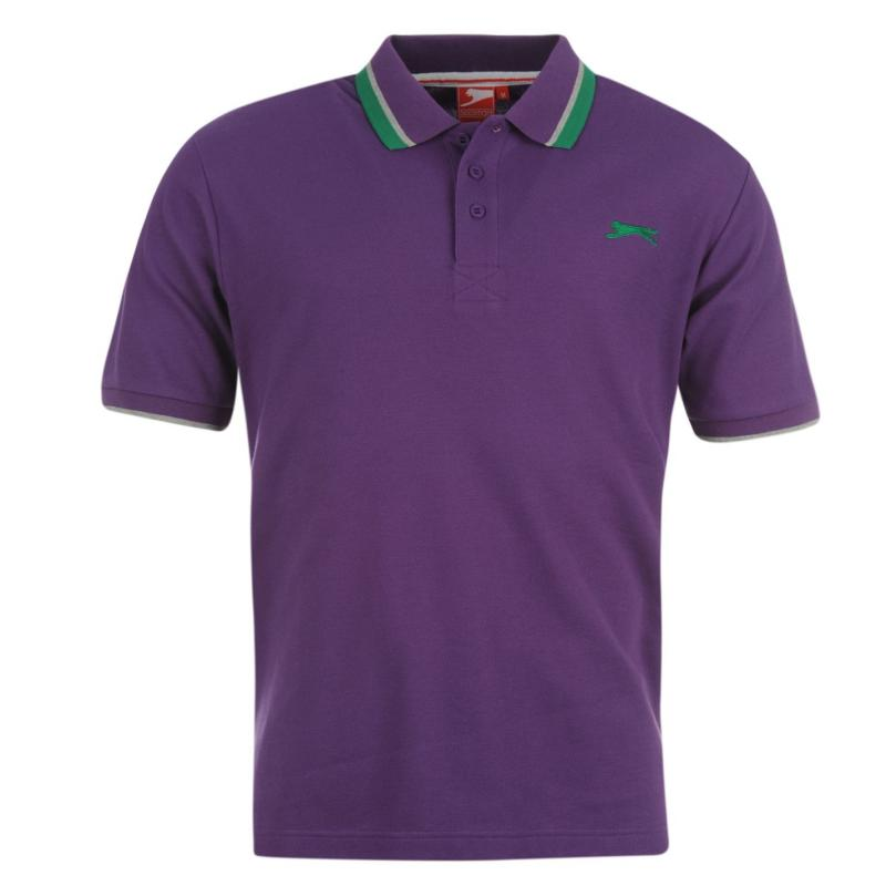 Slazenger Tipped Polo Shirt Mens Purple