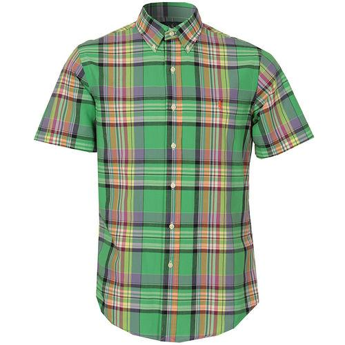 Košile Ralph Lauren Mens Custom Fit SS Check Shirt 32583 Green blue
