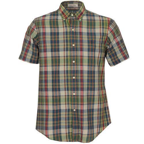 Košile Ralph Lauren Mens Custom Fit SS Madras Check Shirt Blue red